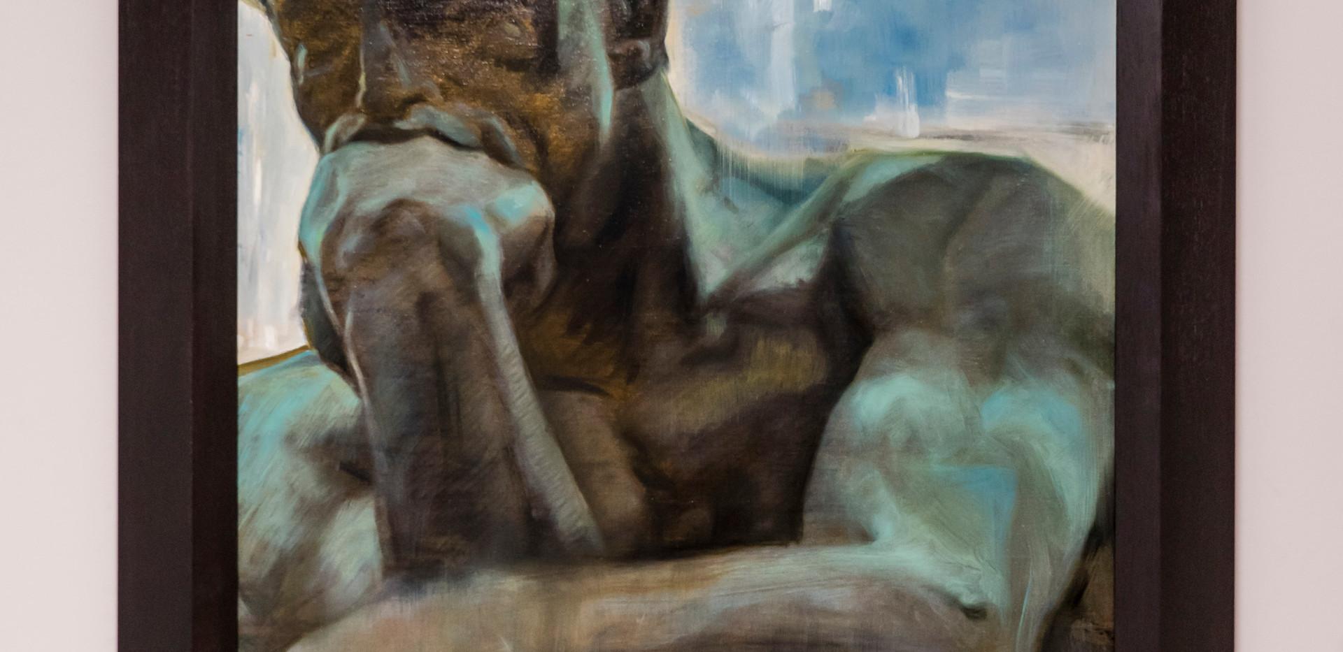 MATTIA MAGNANO - IL PENSATORE DI AUGUST RODIN (olio su tela 70x102)
