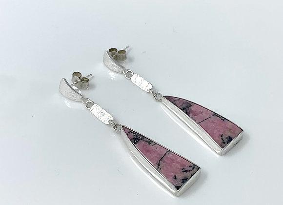 Pink Rhodonite Sail Dangle Earrings