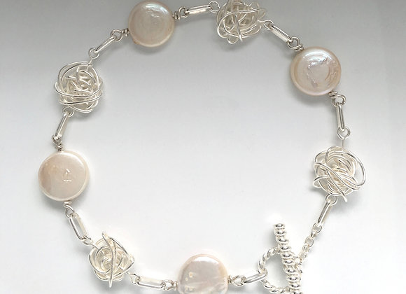 Wire Ball & Coin Pearls Bracelet