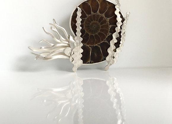 Eric the Ammonite Pendant with Seaweed