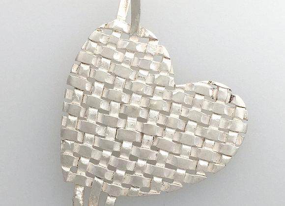 Woven Fine Silver Heart