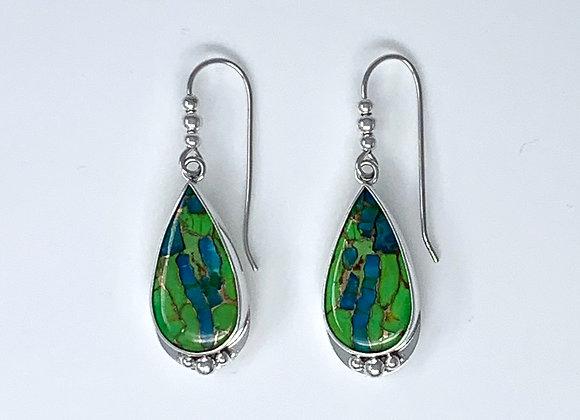 Green Copper Turquoise Teardrop Dangle Earrings