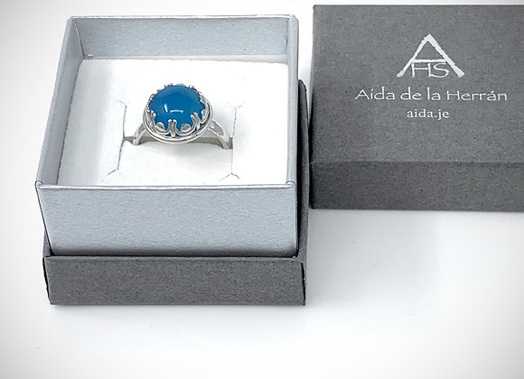 Blue Chalcedony with ornate bezel