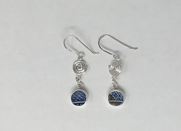 Coil and tile dangle earrings