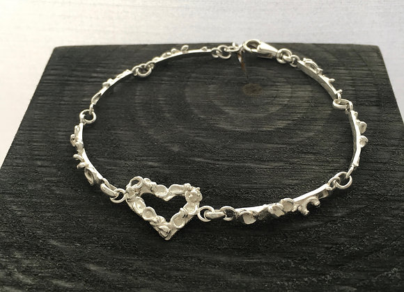 Fused Heart Sterling Silver Bracelet