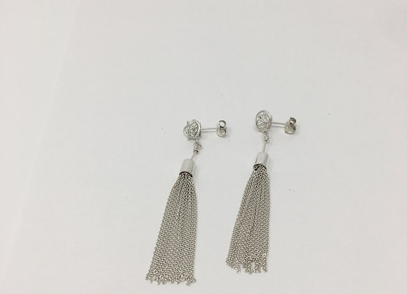 Wire ball and Tassel earring