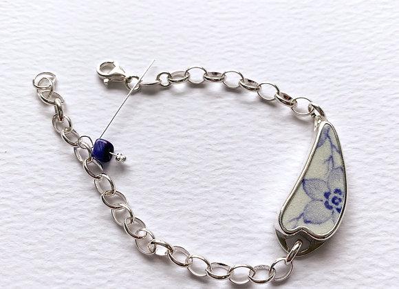 Lilac Flower Pottery Shard Bracelet