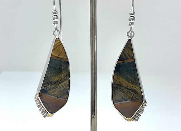 Tiger's Eye Earrings with Flames
