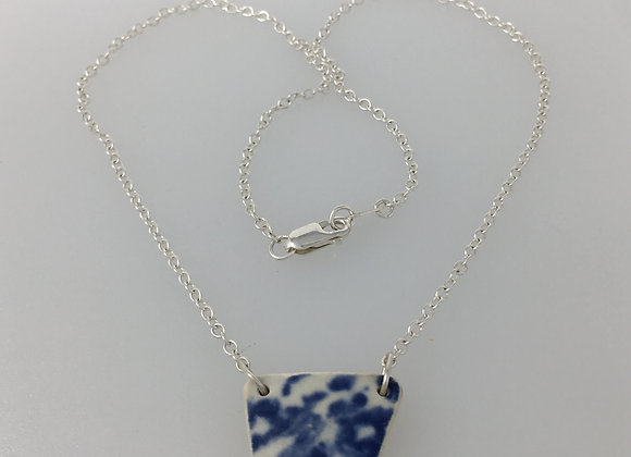 Blue and white reversible tile necklet