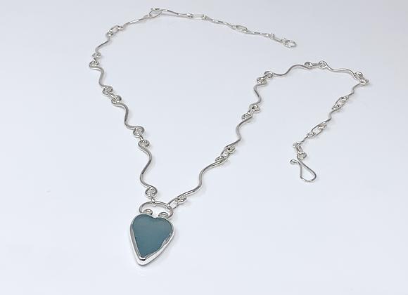 Blue Grey Sea Glass on Curvy Link hand made chain