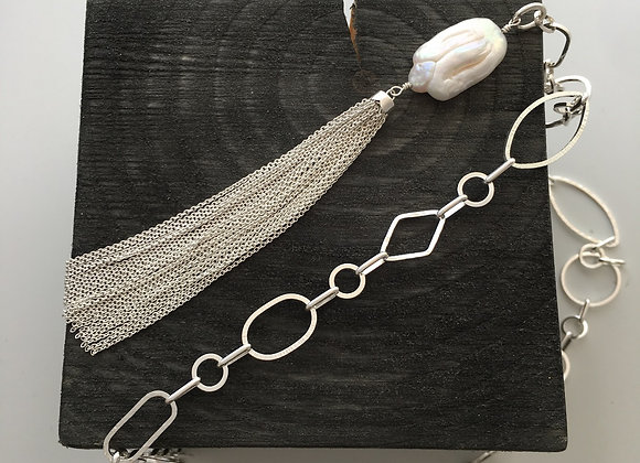 Baroque Pearl and Tassel Necklace