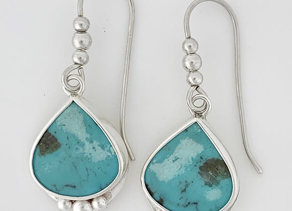 Turquoise Teardrops with 3 beads Earrings