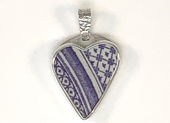 Lilac Heart Pottery Shard pendant