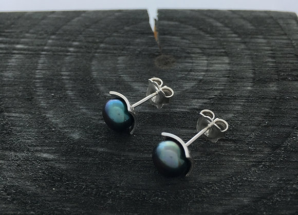 Peacock Grey Button Pearl Studs