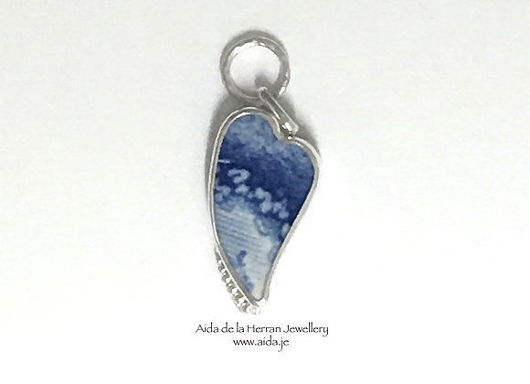Blue Tile pendant with leaves and beads