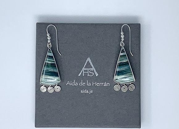 Blue-Green Sails on Waves Earrings