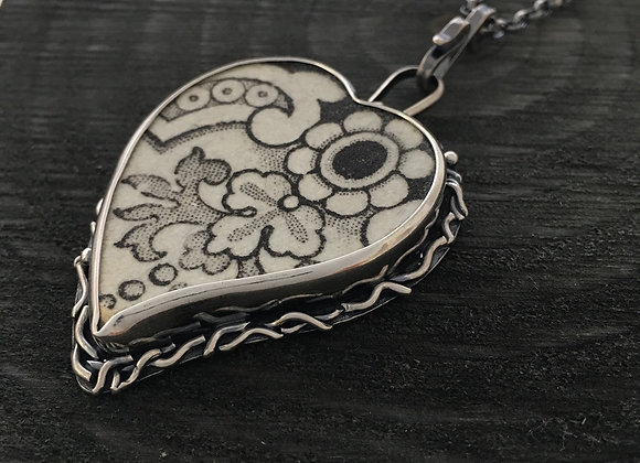 Brown Heart with flower Silver Pendant