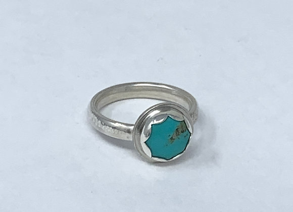 Turquoise ring with scalloped bezel