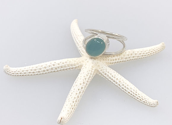 Aqua Chalcedony and Double Band Ring