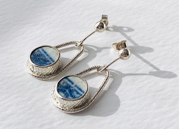 Teardrop Jersey Beach Pottery Shard Earrings
