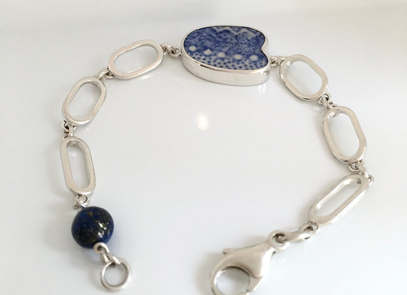 Jersey beach tile Heart with handmade chain and lapis bead