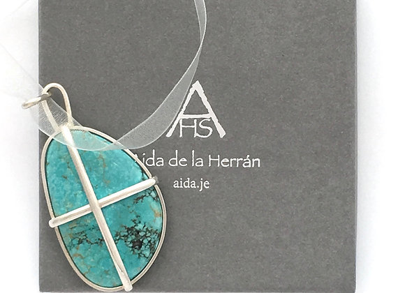 Turquoise pendant with staples