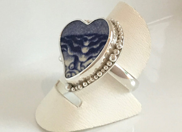 Jersey Beach Tile Heart Ring with bubbles