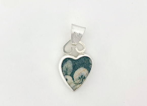 Green Heart Pendant with decorative bail