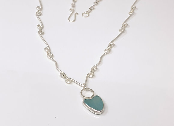 Seaglass Heart Necklace with Frosted links