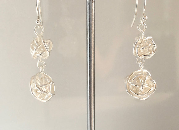 Wire Ball double dangle Earrings