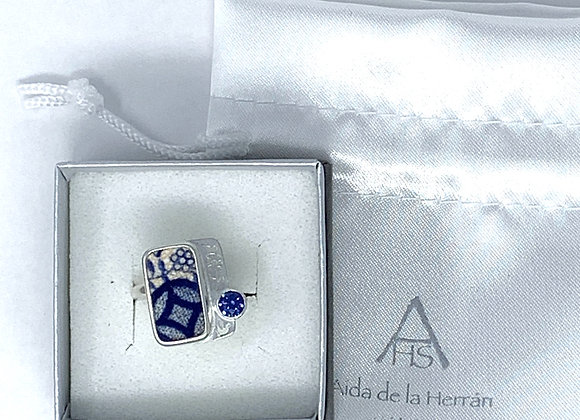 Tile Ring with blue CZ