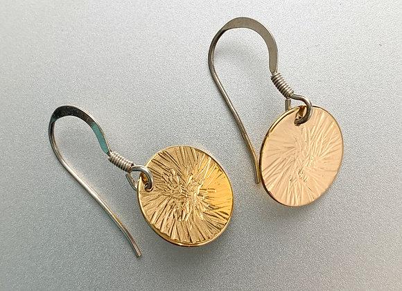 Starburst Round Earrings, Gold Vermeil