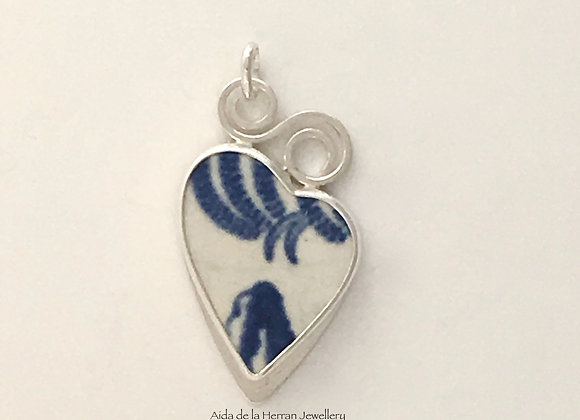 Blue and White pendant with Swirl-S bail