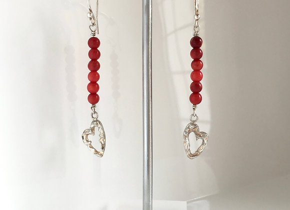 Heart and Coral Dangle Earrings
