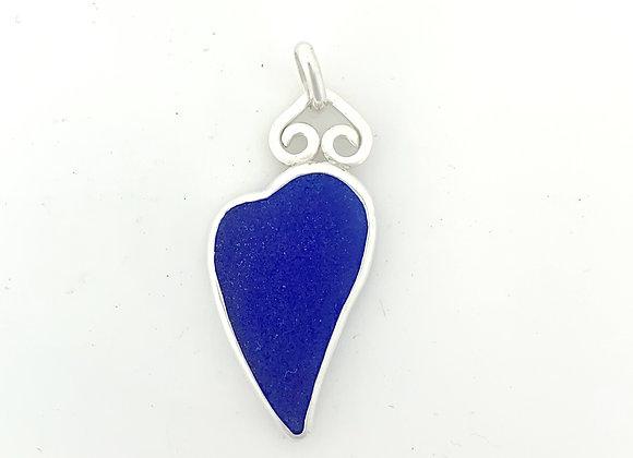 Cobalt Blue Sea Glass  Heart Pendant