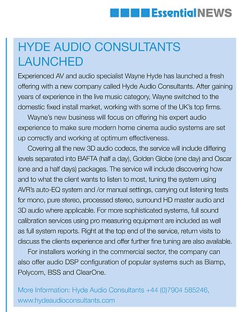 Hyde Audio Consultants in Essential Install magazine February 2016