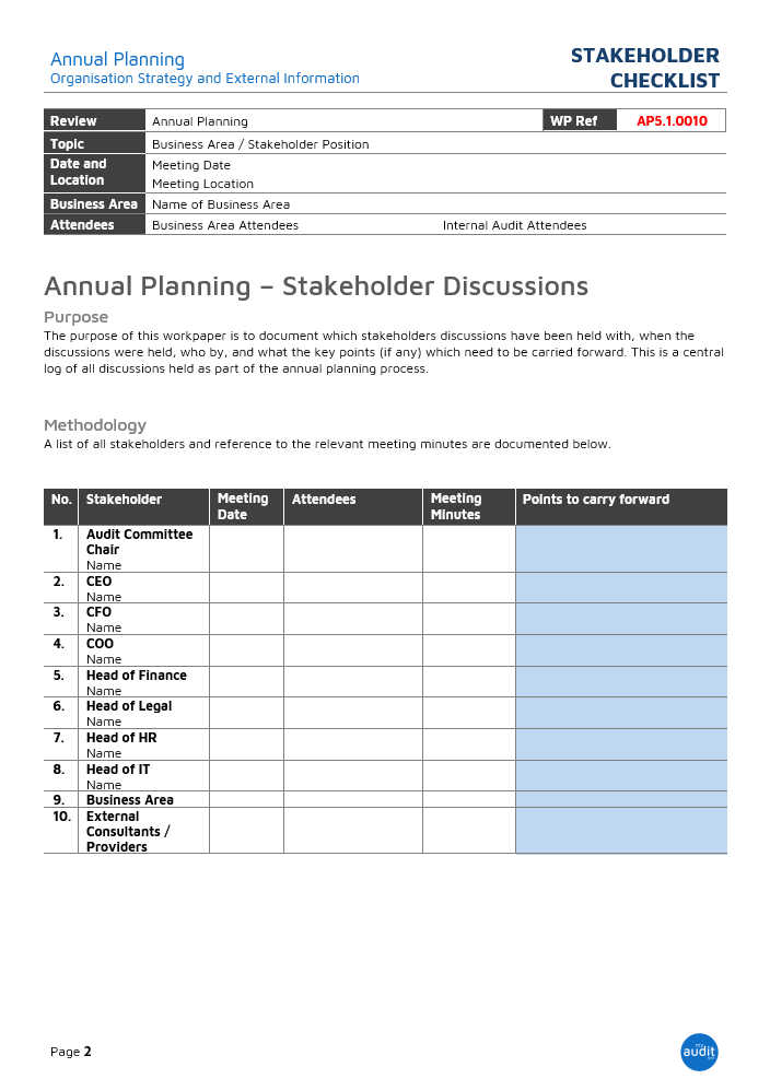 An example list of what stakeholders you may want to attend your annual planning discussions.