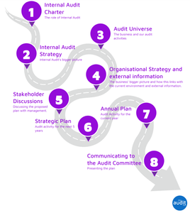 Annual Planning Process - Internal Audit Charter, Audit Universe, Internal Audit Strategy, Organisational Strategy, Stakeholder Discussions, Strategic Plan, Annual Plan, Communicating to the Audit Committee