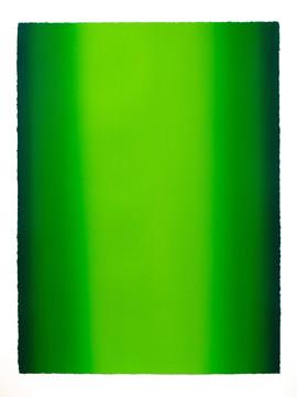 Depths, Green 7, 2020, Oil on paper, 30