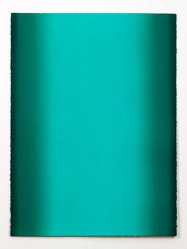 Depths, Green 6, 2020, Oil on paper, 30