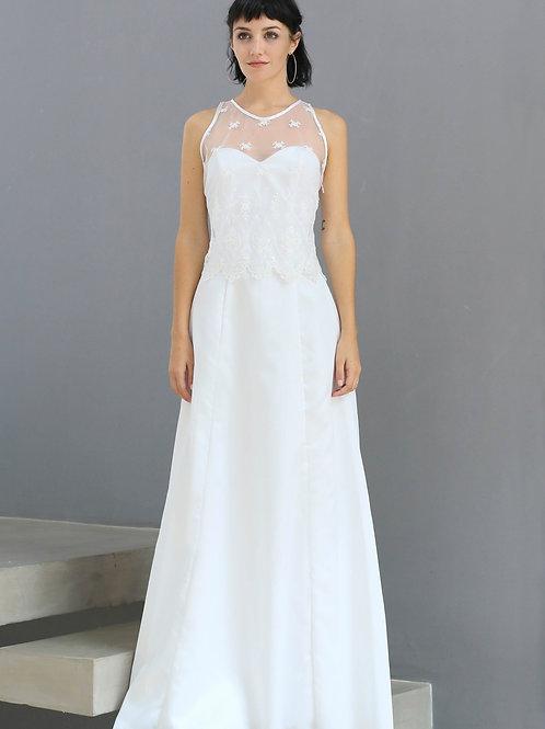 Vestido de novia gajos chico + camiseta Carola