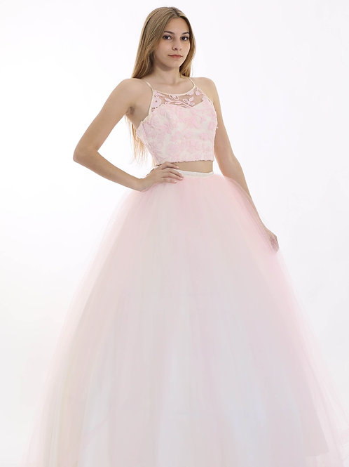 Vestido De 15 Con Top Agustina rosa