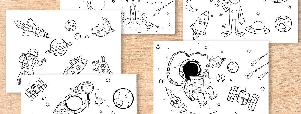 סדרת דפי צביעה - אסטרונאוטים וחלל