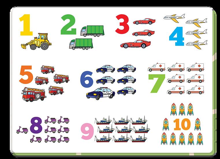 פלייסמט מספרים 1-10 תחבורה
