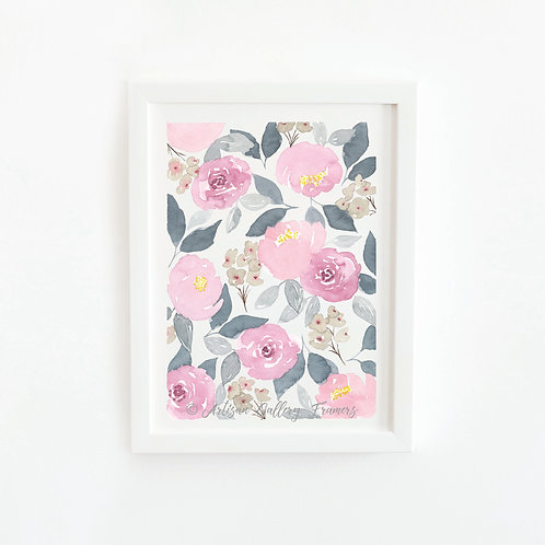 Watercolor #13: Pink Roses Abstract Florals