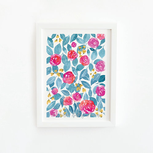Watercolor #8: Red Pink Blue and Gold Abstract Florals
