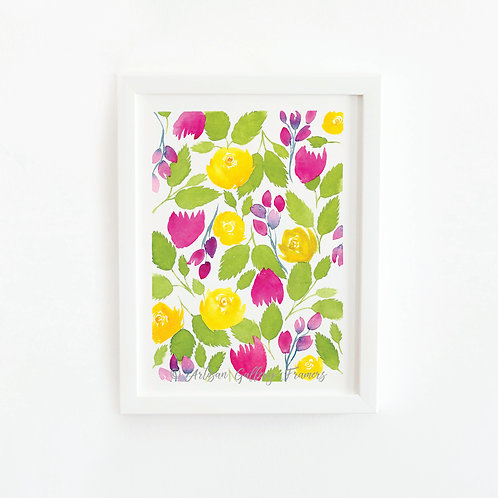 Watercolor #5: Bright Yellow and Pink Abstract Florals