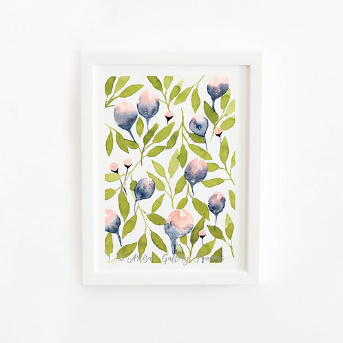 Watercolor #4: Green Abstract Florals