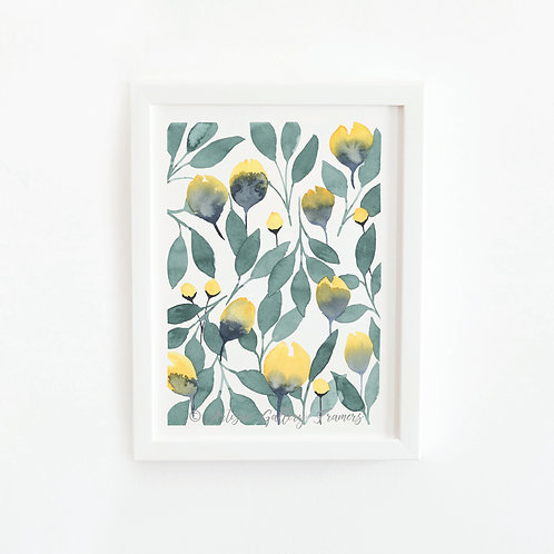 Watercolor #11: Yellow and Deep Green Abstract Florals