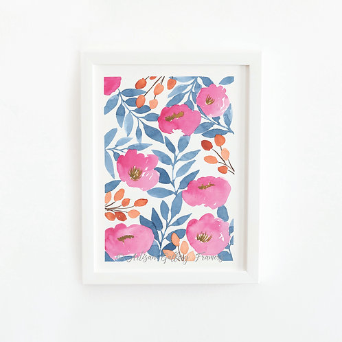 Watercolor #9: Pink Blue and Orange Abstract Florals